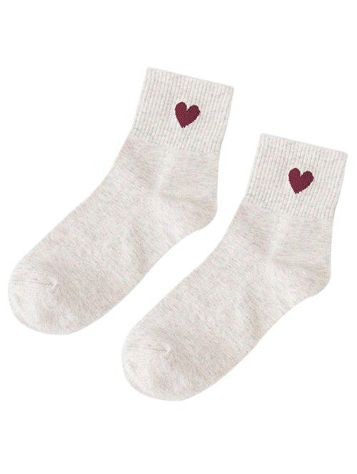 Small Heart Knitted Ankle Socks - OFF WHITE
