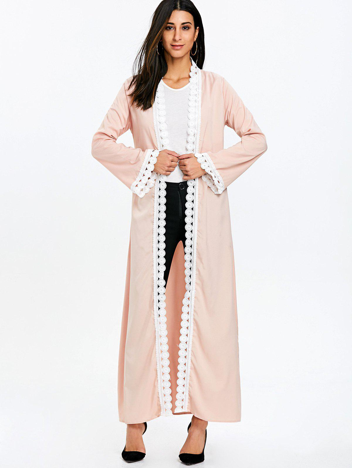 Maxi Arabic Duster Coat with Tie Belt - LIGHT APRICOT PINK M