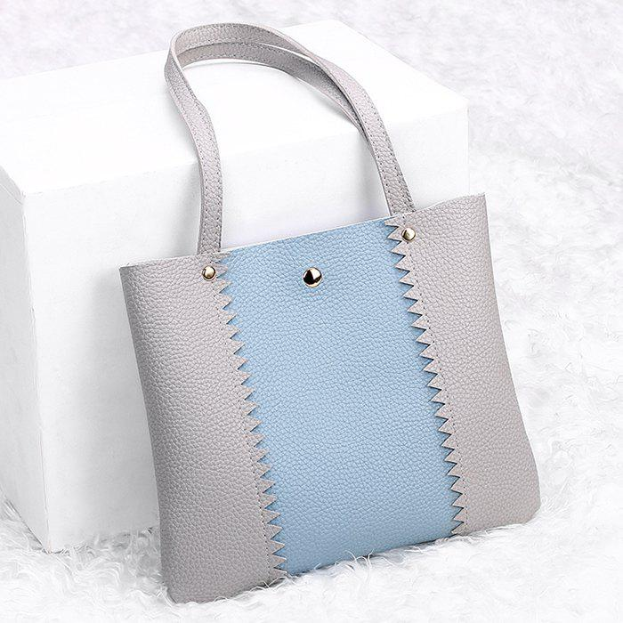 Color Block Scallop Shoulder Bag - GRAY HORIZONTAL