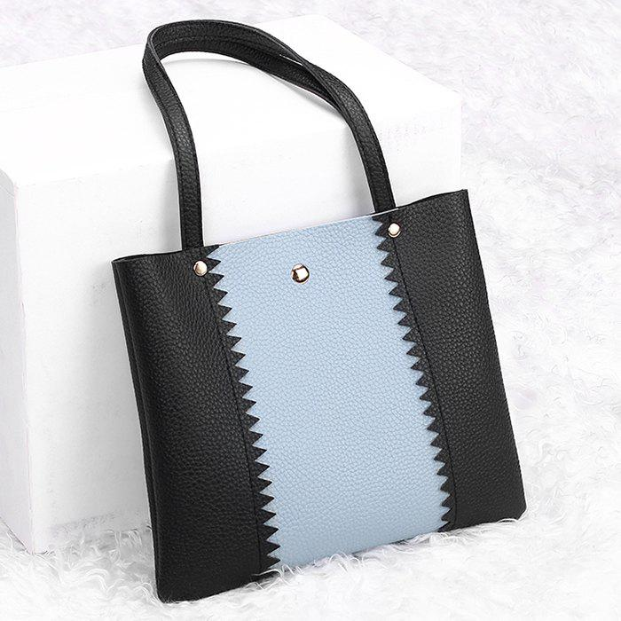 Color Block Scallop Shoulder Bag - BLACK HORIZONTAL