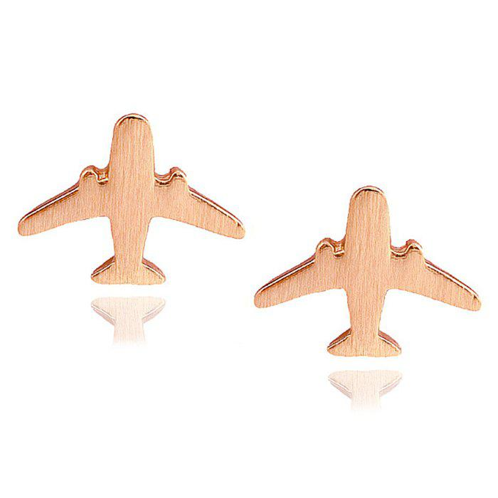 Pair of Aircraft Shape Stud Earrings - ROSE GOLD