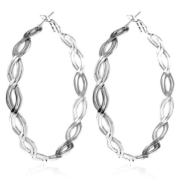 Twist Design Metal Hoop Earrings - SILVER