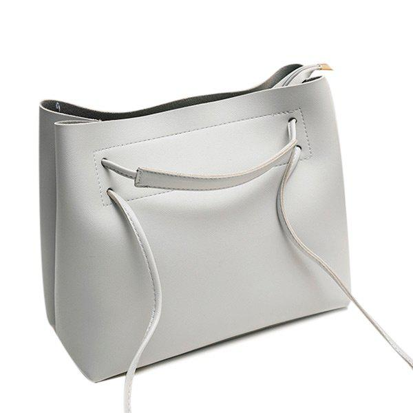 Multi Function PU Leather Shoulder Bag - GRAY