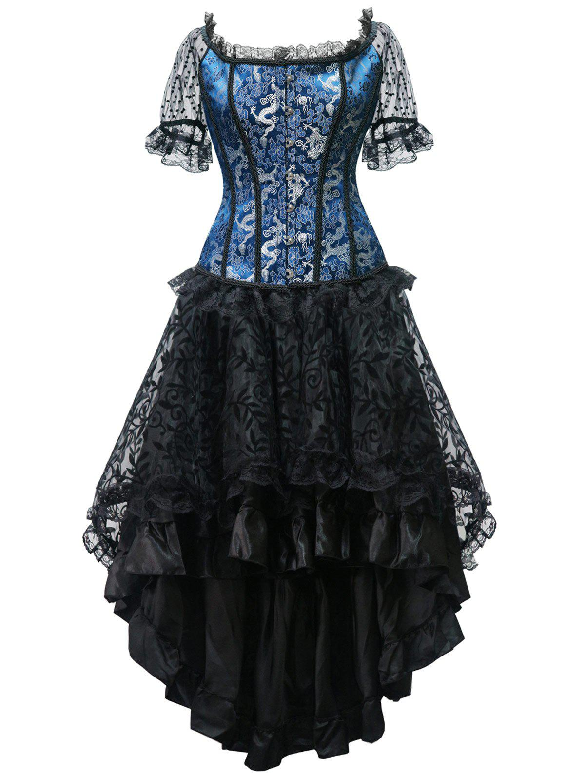 High Low Steel Boned Party Corset Dress - BLUE L