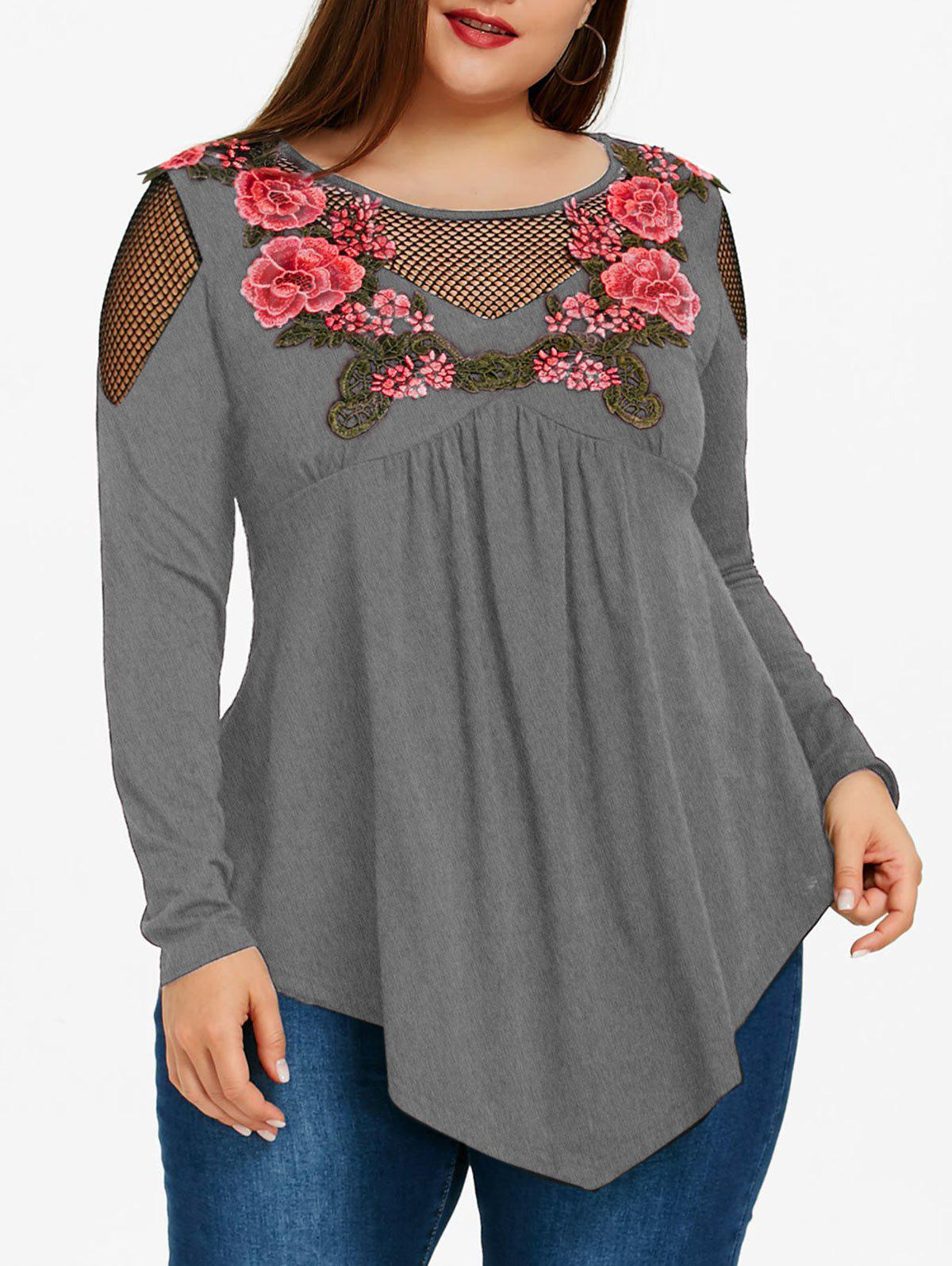 Plus Size Embroidered Fishnet Insert Babydoll Top - HEATHER GRAY 4XL