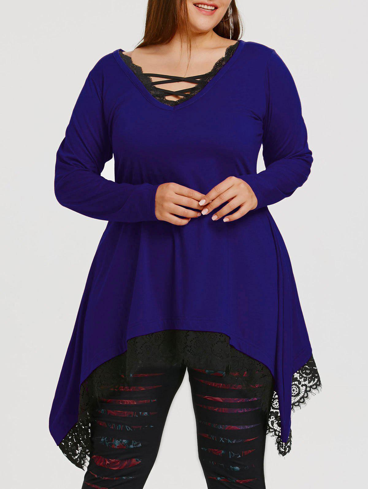 Plus Size Lace Trim Sharkbite Tunic T-shirt - BLUE 4XL