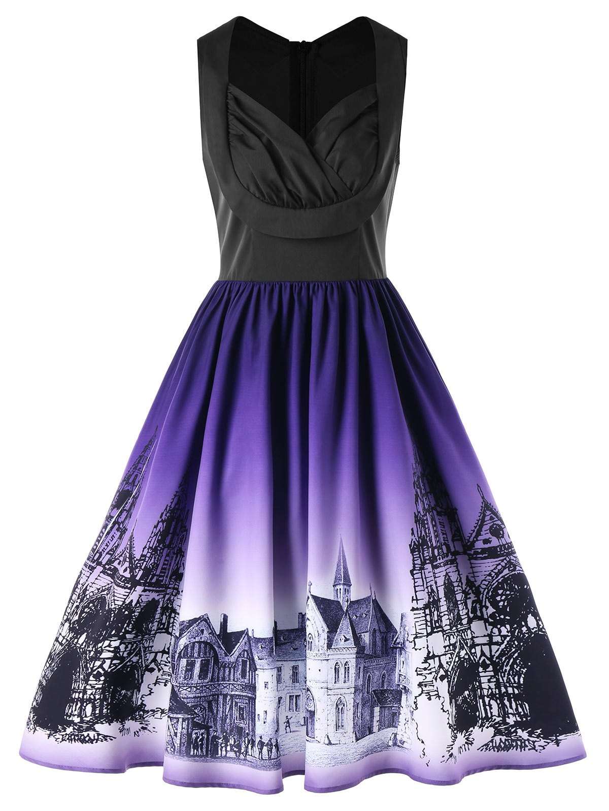 Retro Buildings Printed Ombre Sleeveless Flare Dress - COLORMIX 2XL