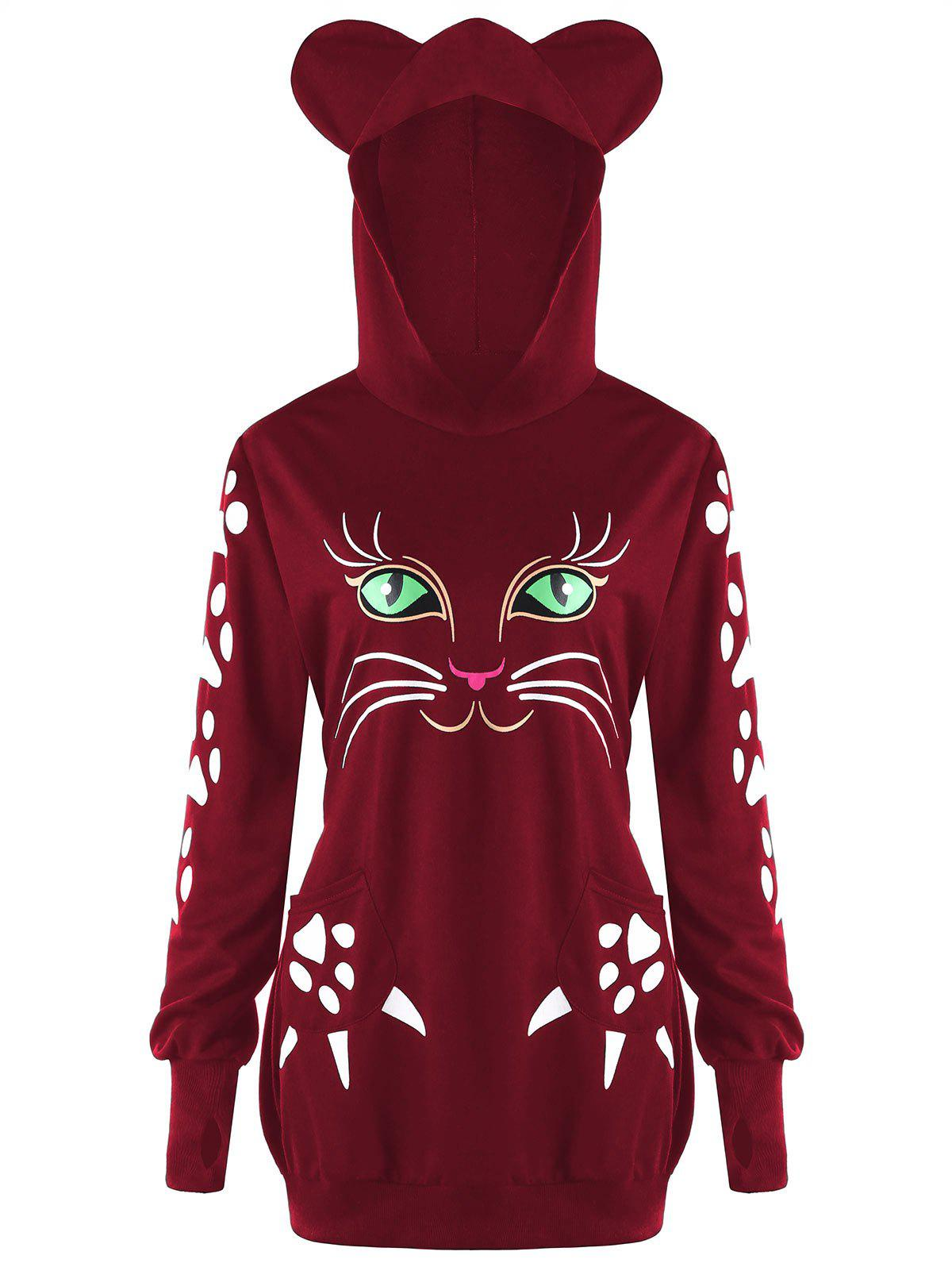 Plus Size Cat Print  Hoodie with Ears - WINE RED 5XL