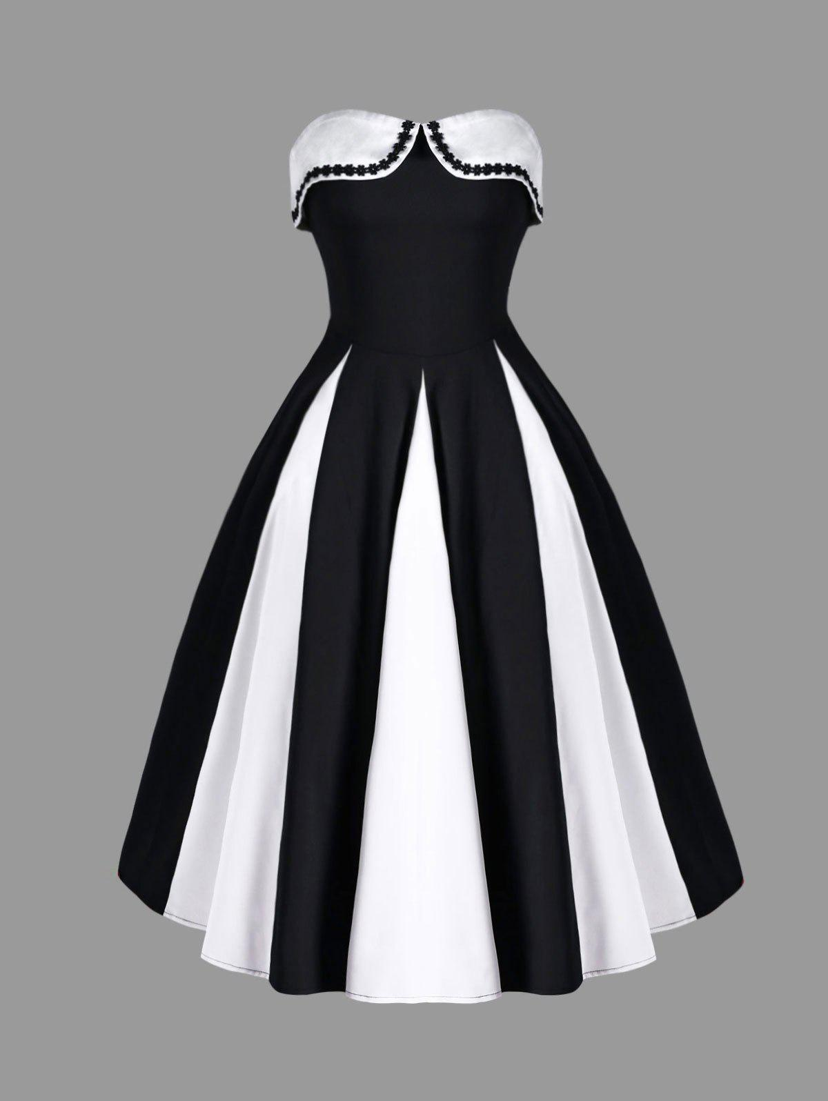 Two Tone Strapless 50s Swing Dress - WHITE/BLACK L