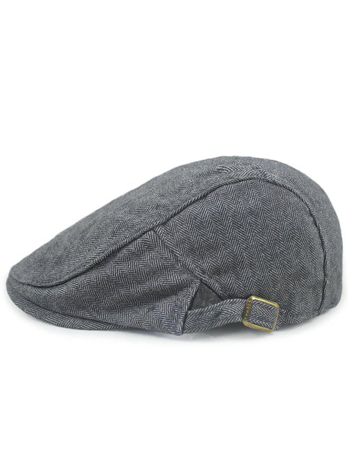 Herringbone Pattern Adjustable Cabbie Hat - GRAY