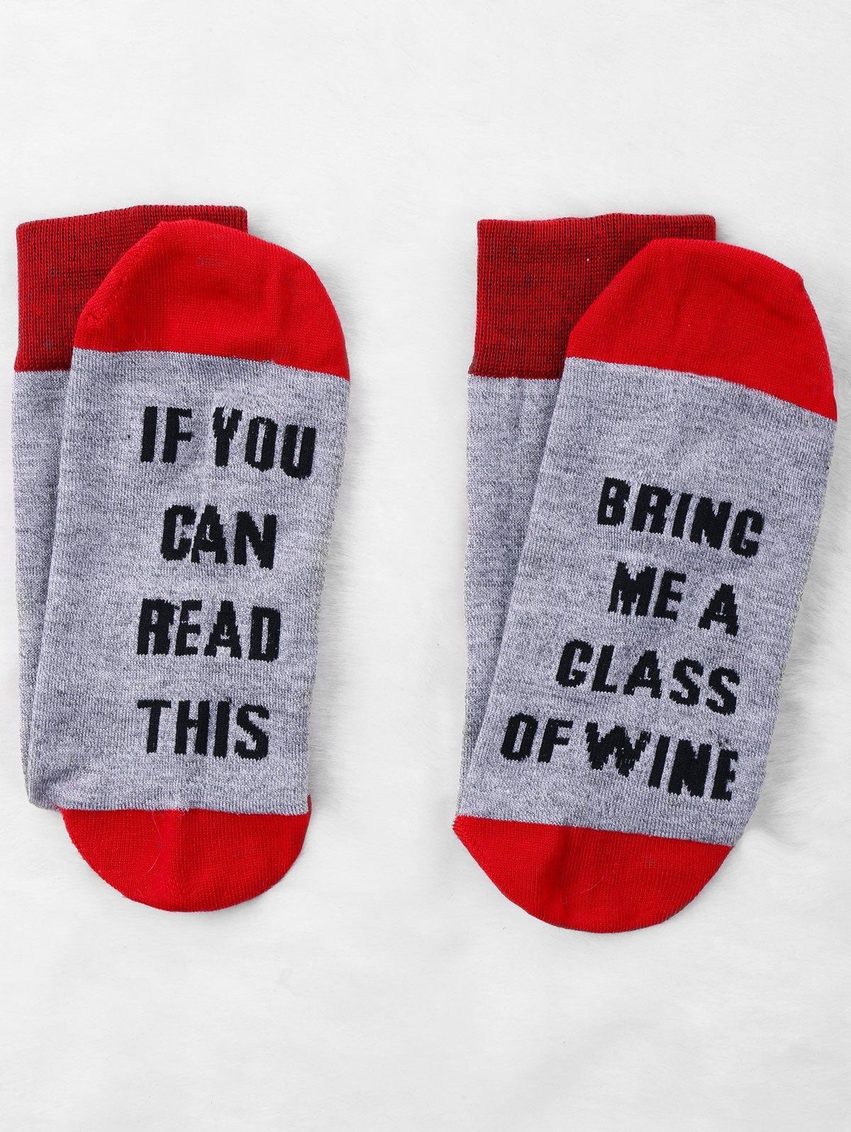 Letters Knitted Crew Socks - RED