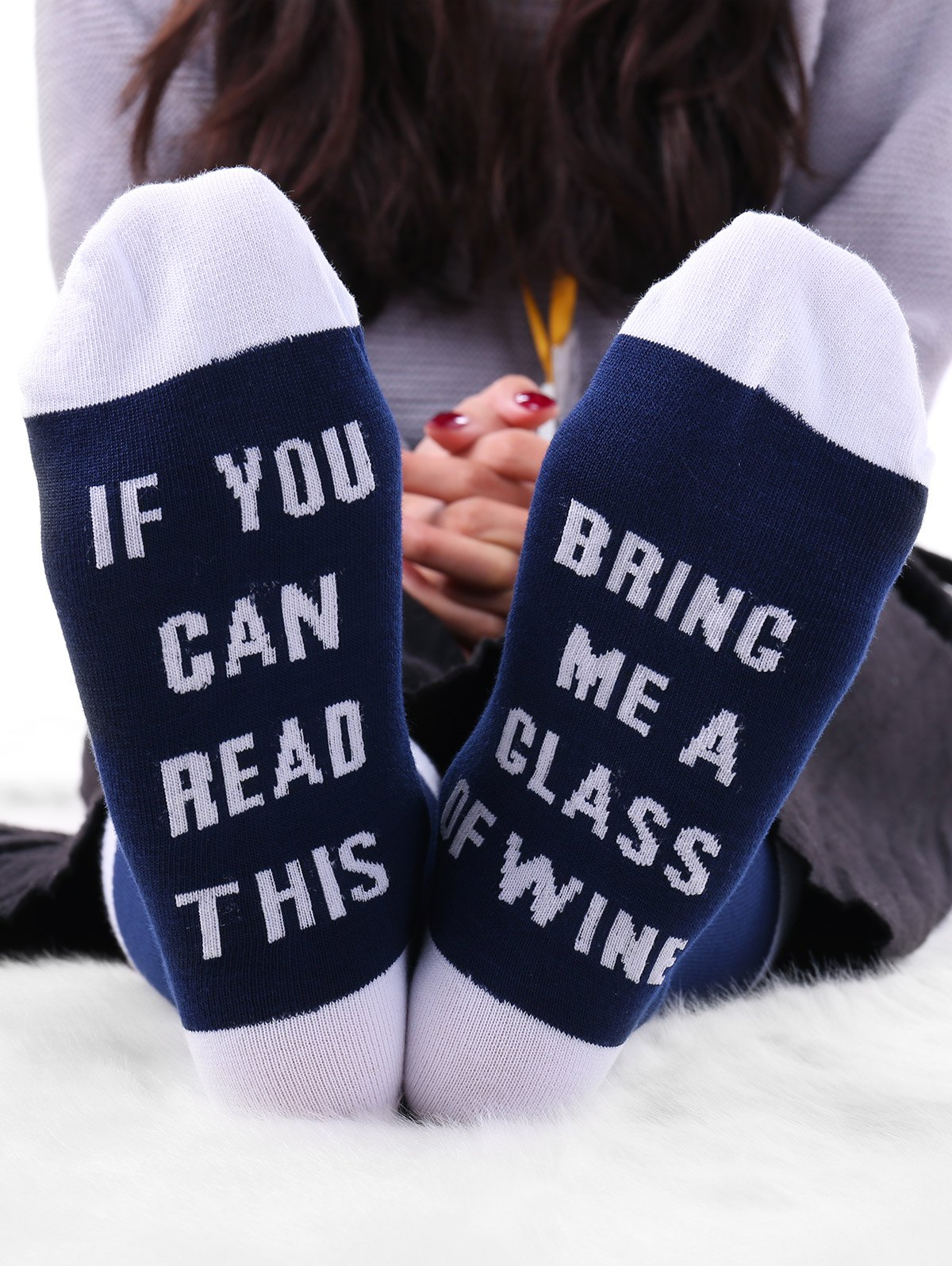 Letters Knitted Crew Socks - WHITE