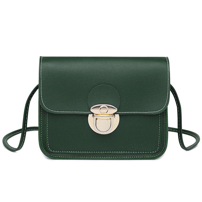 Flap Stitching Faux Leather Crossbody Bag - GREEN