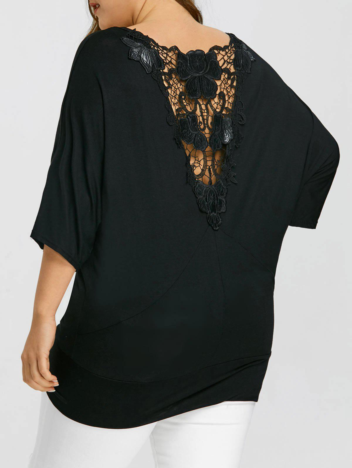 Plus Size Crochet Lace Panel Batwing T-shirt - BLACK 4XL