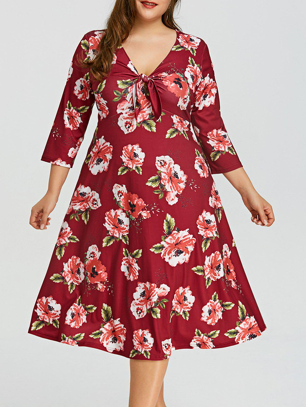 Plus Size Floral Empire Waist Hawaiian Dress - WINE RED XL