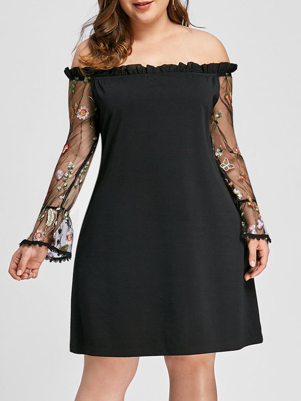 Plus Size Mesh Sleeve Off Shoulder Dress - BLACK 3XL