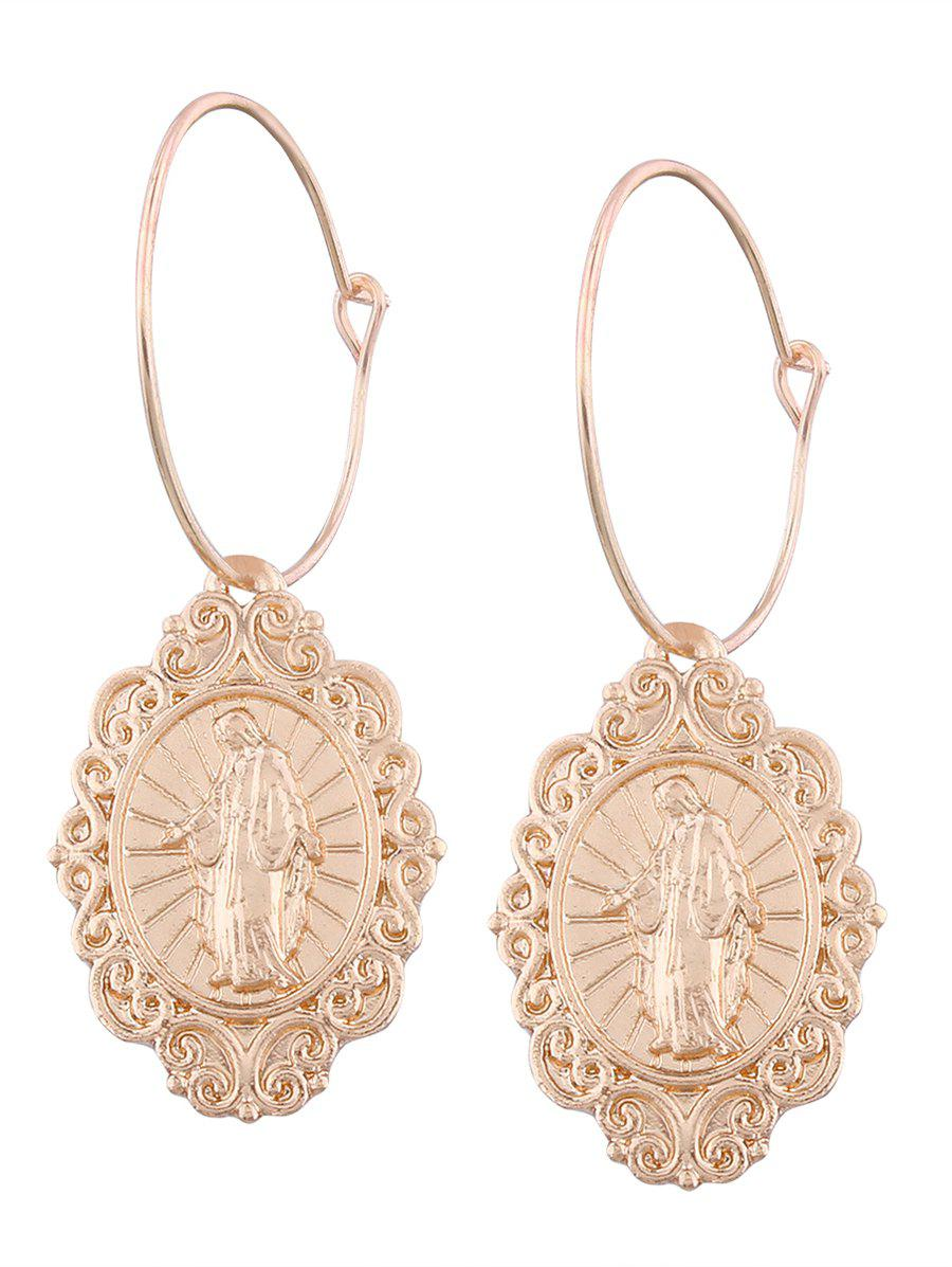 Oval Engraved Jesus Hoop Drop Earrings bow detail hoop drop earrings