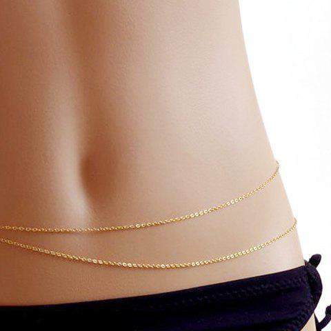Simple Alloy Layered Belly Chain - GOLDEN