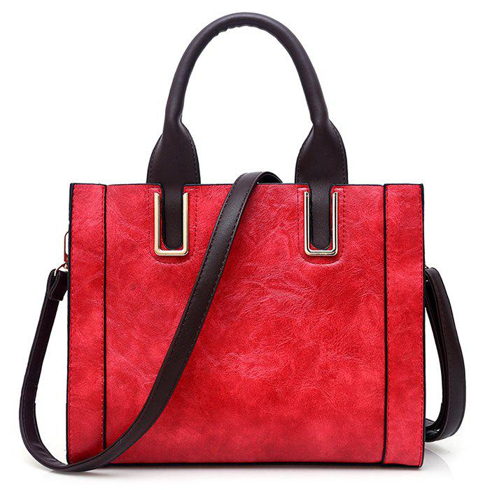 Stitching Faux Leather Metal Handbag with Strap - RED