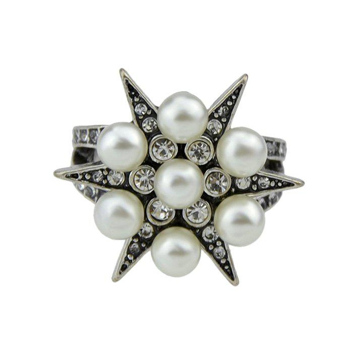 Faux Pearl and Diamond Inlay Ornament Star Ring - SILVER ONE-SIZE