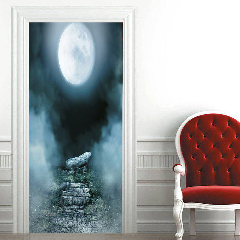 Moon Night Pattern Door Art Stickers - COLORMIX 38.5*200CM*2PCS