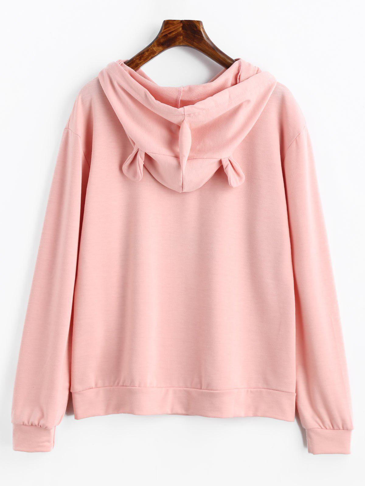 Drawstring Unicorn Letter Graphic Hoodie - LIGHT PINK M