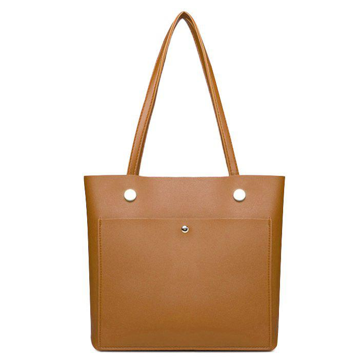 High-polished Studs Shoulder Tote Bag - BROWN