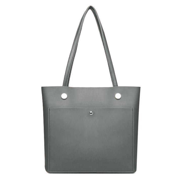 High-polished Studs Shoulder Tote Bag - GRAY