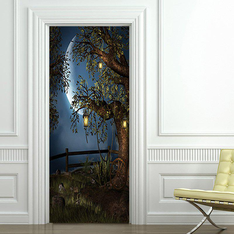 Moon Night Tree Pattern Door Art Stickers - COLORMIX 38.5*200CM*2PCS