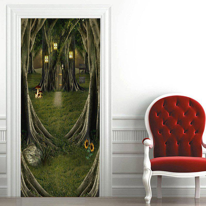 Fairytale Tree House Pattern Door Art Stickers - GREEN