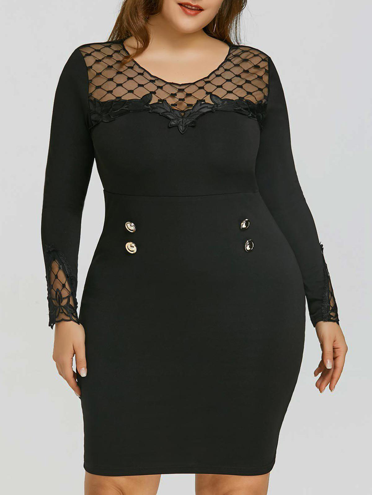 Plus Size Mesh Panel Applique Dress - BLACK 3XL