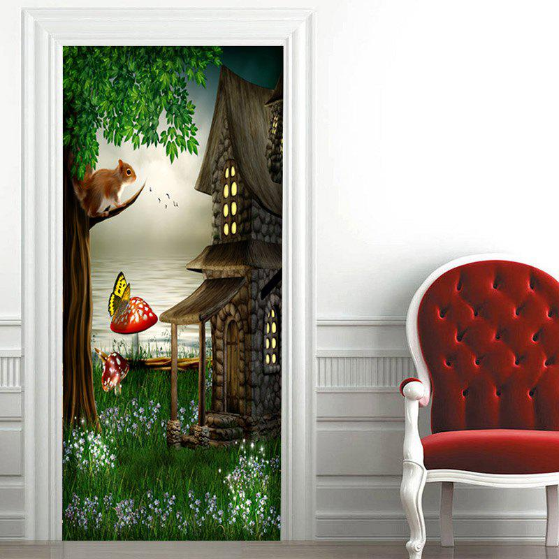 Fairytale Landscape Patterned Door Art Stickers - GREEN 38.5*200CM*2PCS