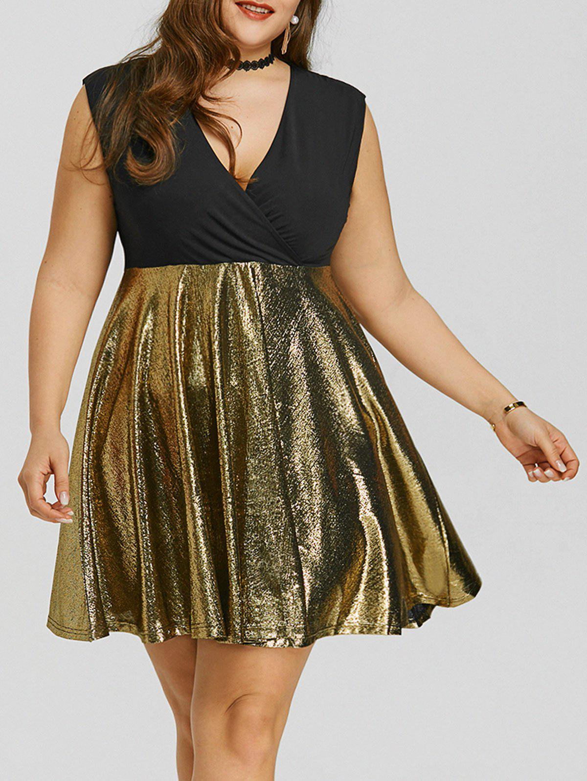 Surplice Glitter Plus Size Party Dress - BLACK 5XL