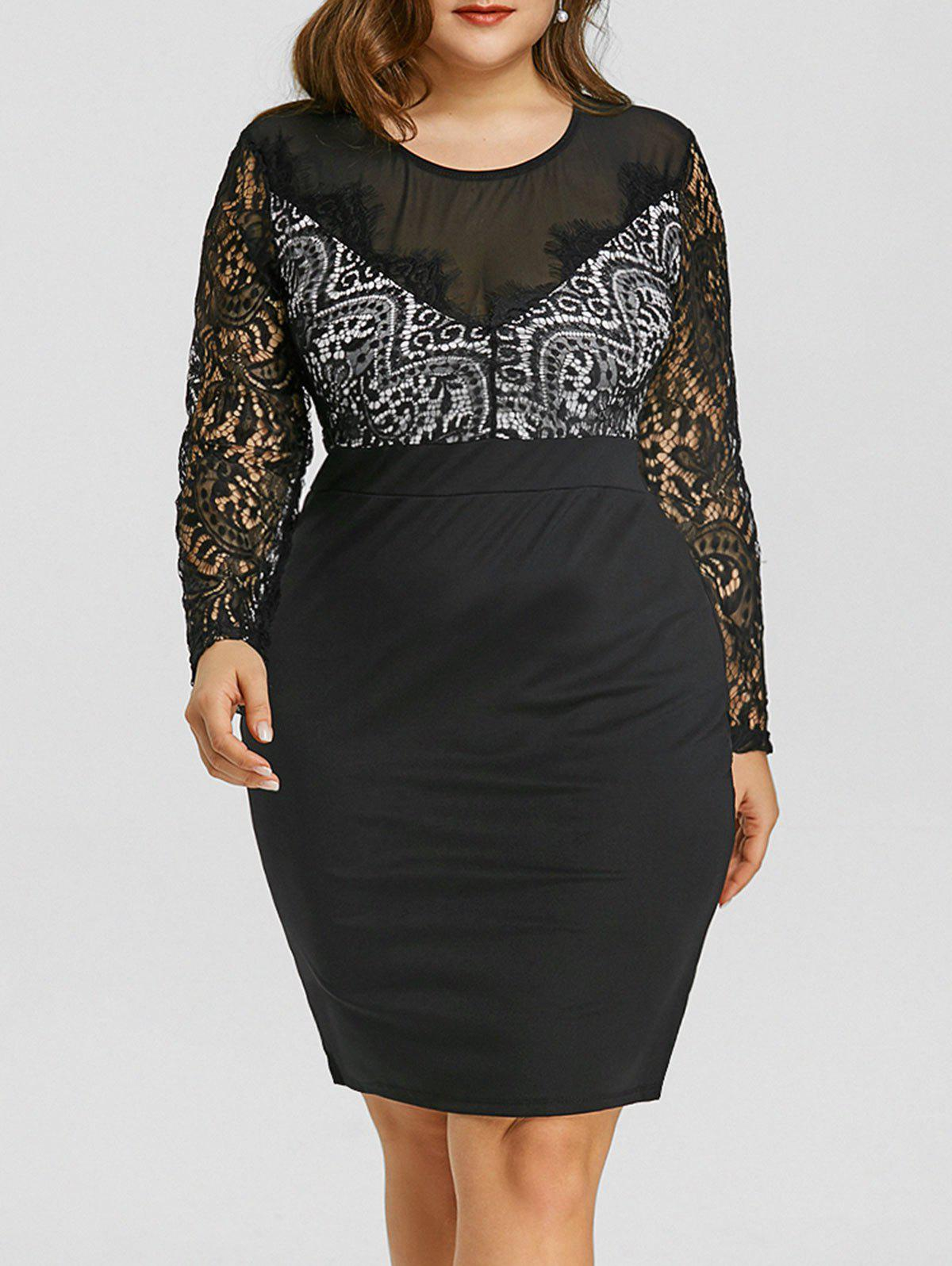Plus Size Sheer Mesh Lace Insert Dress plus size embroidered mesh insert party dress
