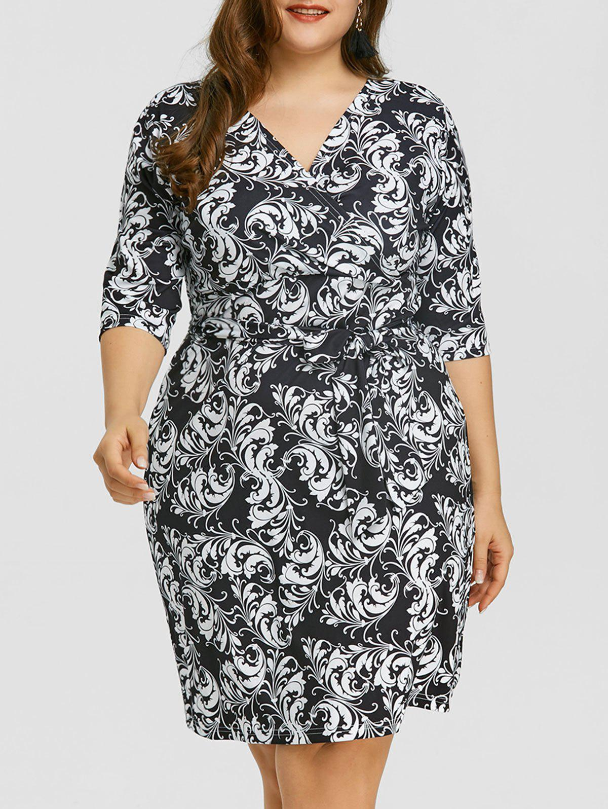 Plus Size Baroque Print Surplice Dress - BLACK 6XL