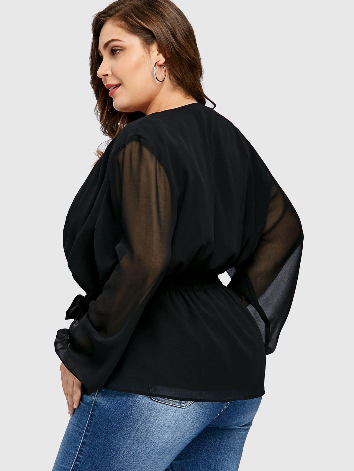 Plus Size Chiffon Insert Wrap Coat - BLACK 3XL