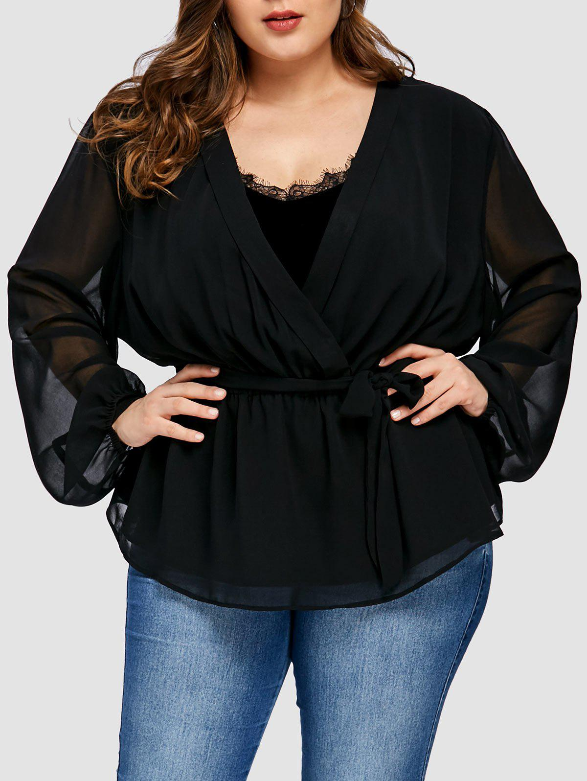 Plus Size Chiffon Insert Wrap Coat - BLACK XL