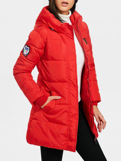 Hooded Single Breasted Puffer Jacket - RED L