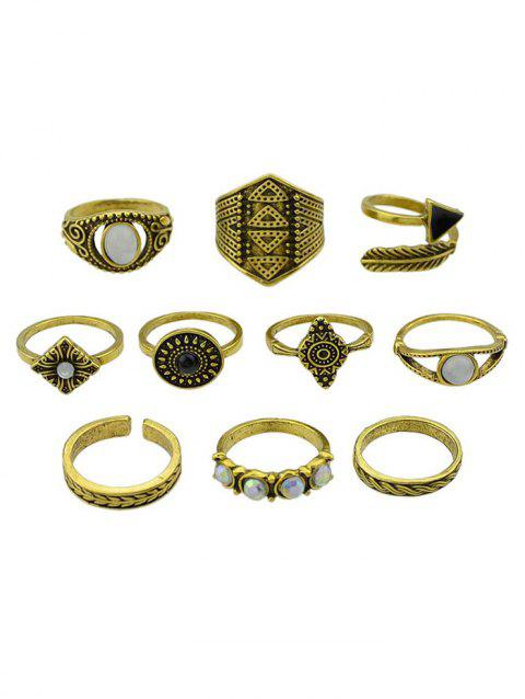 Retro Metal Faux Gem Band Cuff Rings Set - GOLDEN ONE-SIZE