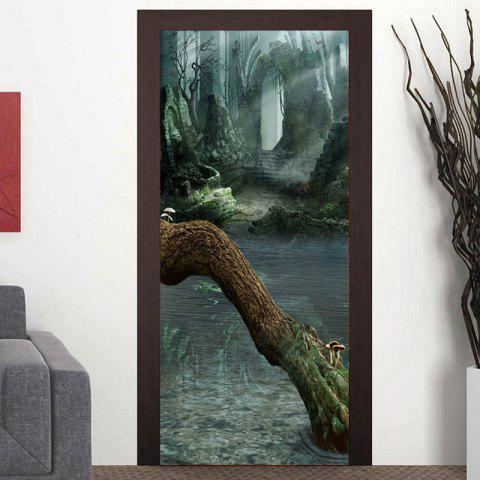 Ruined Walls and Dead Tree Patterned Door Art Stickers - COLORMIX 38.5*200CM*2PCS