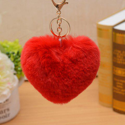 Valentine's Day Fluffy Little Heart Shape Keychain - RED