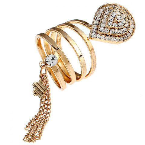 Rhinestone Fringed Teardrop Floral Charm Ring - GOLDEN