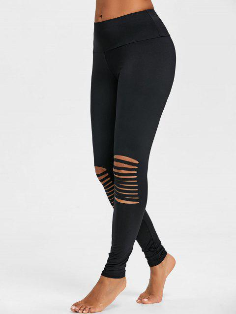 Skinny High Waist Knee Ripped Leggings - BLACK L
