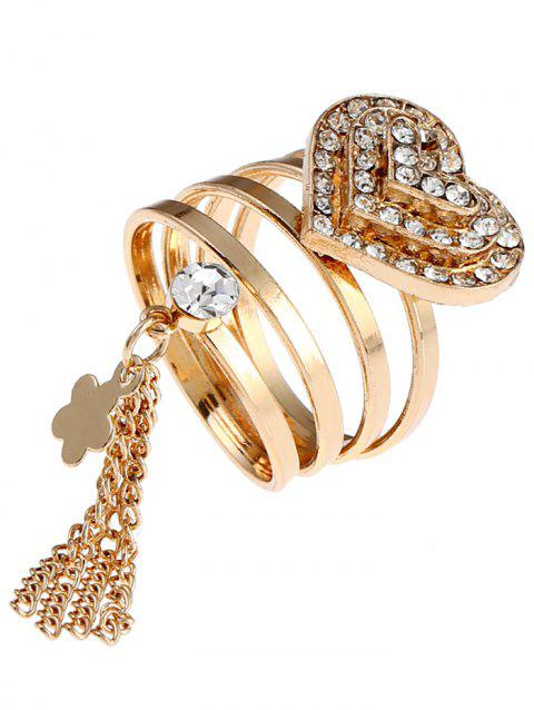 Valentine's Day Rhinestone Heart Fringed Charm Ring - GOLDEN