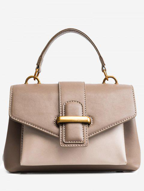 Color Block Buckled PU Leather Handbag - KHAKI