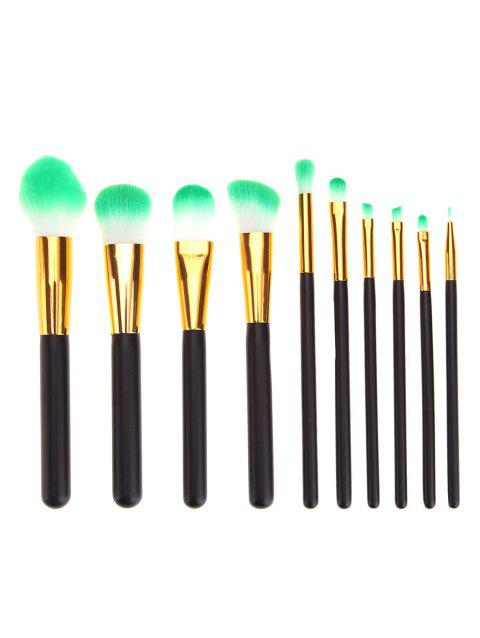 10 Pcs Professional Golden and Black Handle Makeup Brushes Set - BLACK