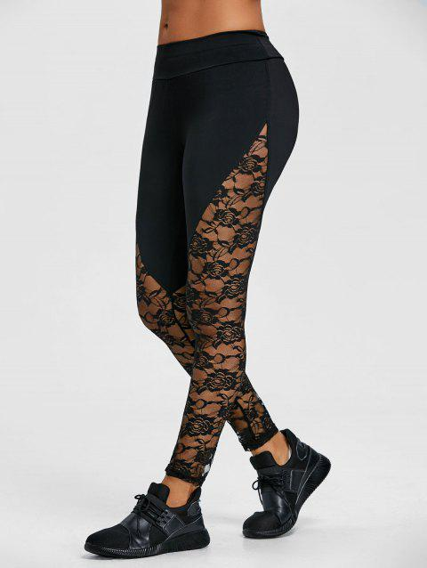 Floral Lace Insert Workout Leggings - BLACK L