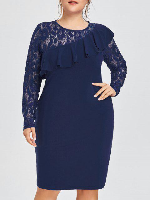 Plus Size Lace Insert Ruffled Semi Formal Dress - PURPLISH BLUE 4XL