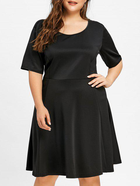 4a0872ee6ef LIMITED OFFER  2019 Plus Size Scoop Neck Skater Dress In BLACK 3XL ...