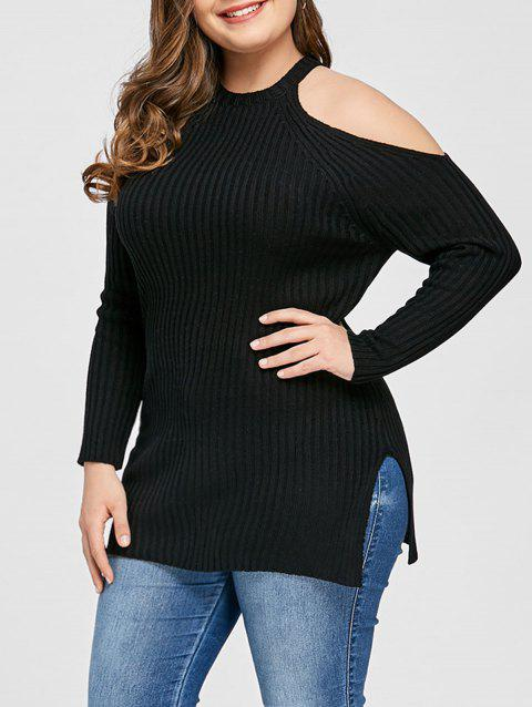 Plus Size Open Shoulder Ribbed Sweater - BLACK XL